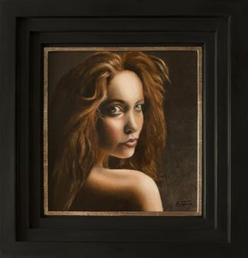 The Girl with the mysterious eyes, art for sale online by Edwin IJpeij