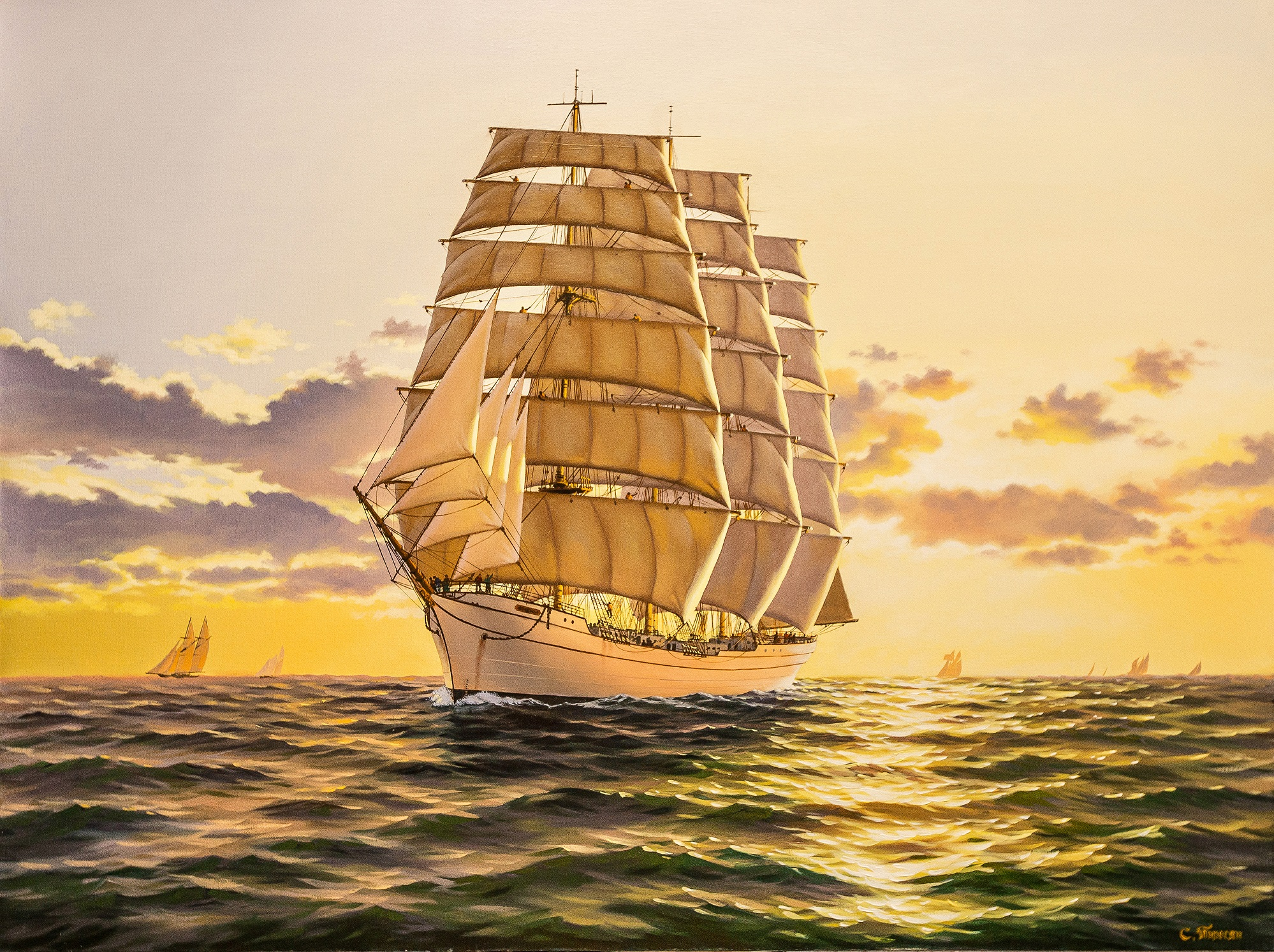 Sunset on the sea  artwork by Suren Torosyan - art listed for sale on Artplode