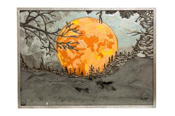 Harvest Moon Under Smokey Skies, art for sale online by Christina Arnall