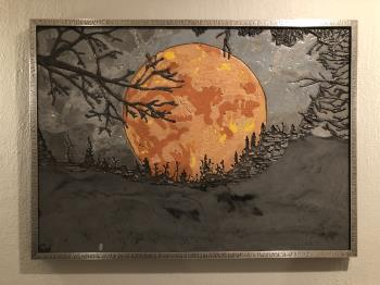 Harvest Moon Under Smokey Skies artwork by Christina Arnall - art listed for sale on Artplode