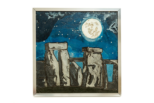 Stonehenge Under a Full Moon artwork by Christina Arnall - art listed for sale on Artplode