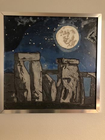 Stonehenge Under a Full Moon artwork by Christina Arnall