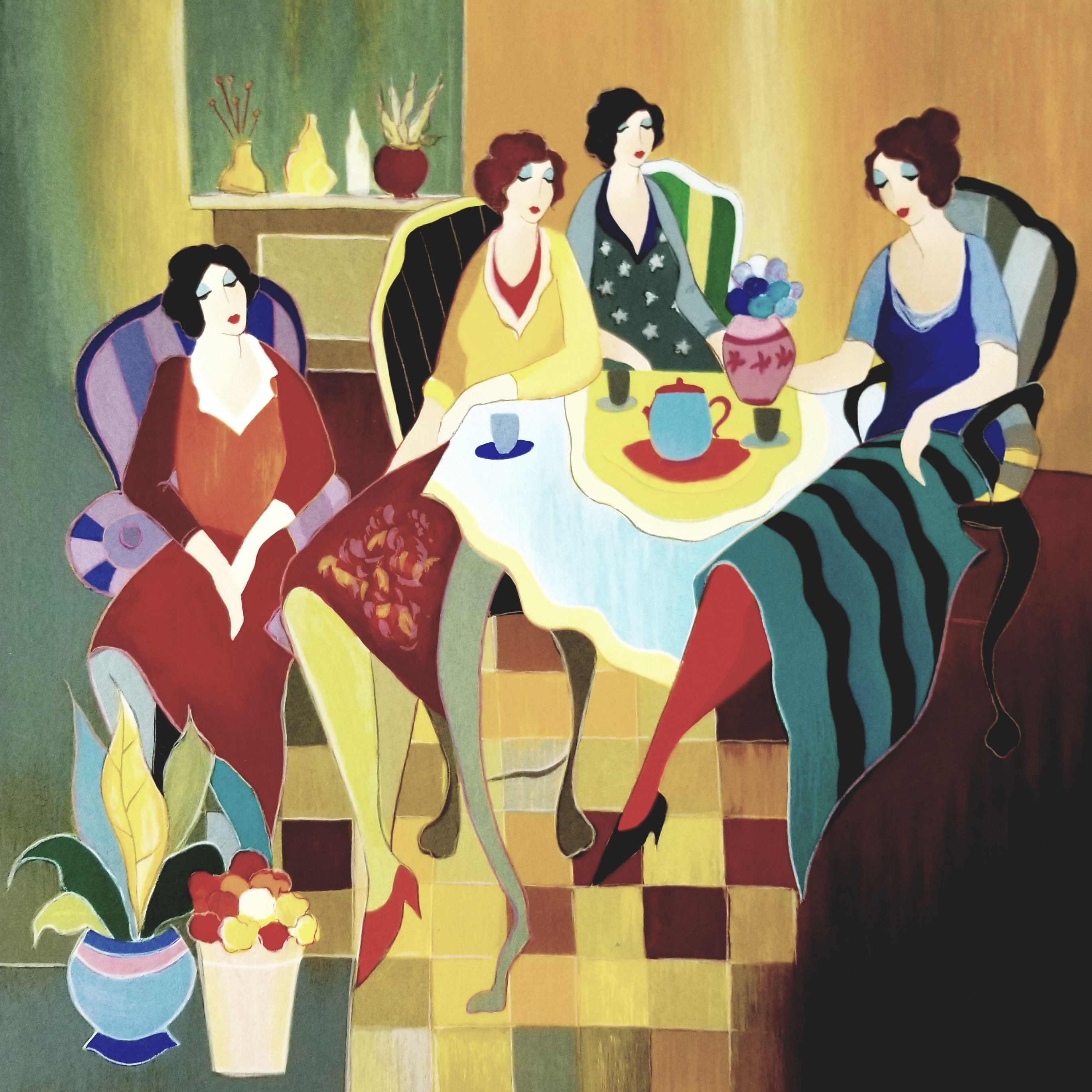 Girls Club artwork by Itzchak Tarkay - art listed for sale on Artplode