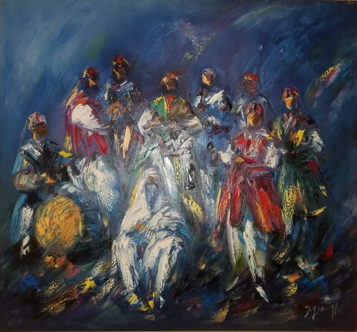 Gnaouas Moroccan Oil Painting artwork by Achwak Mohamed - art listed for sale on Artplode