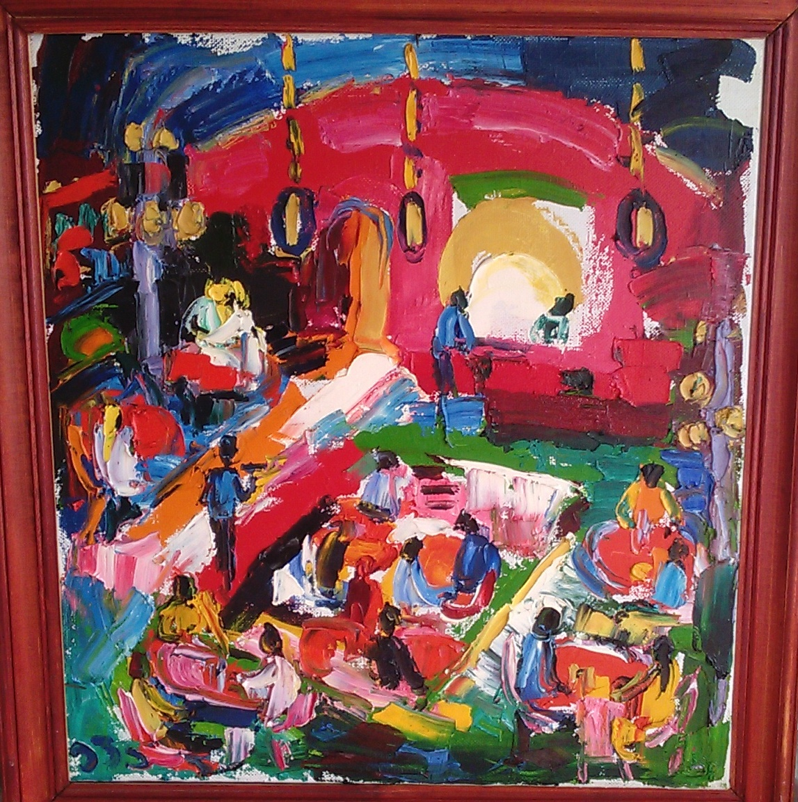 MEKHANA (Night Bar in Sozopol) Balkan motives artwork by Eva Kudukhashvili - art listed for sale on Artplode