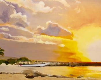 Sunset in Jamaica, art for sale online by Renee