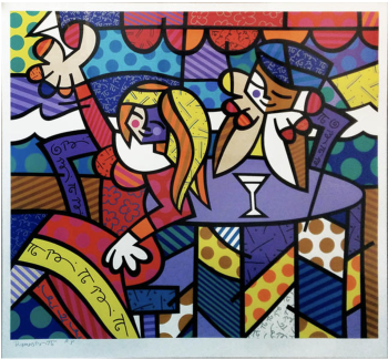 DOING LUNCH, art for sale online by Romero Britto