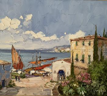Ligurian Harbor , art for sale online by Erich Paulsen