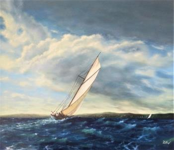 Vintage yacht in action N3, art for sale online by Zigmars Grundmanis