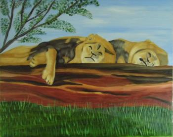 Sleeping Lions, art for sale online by Teresa Deborah Ryle