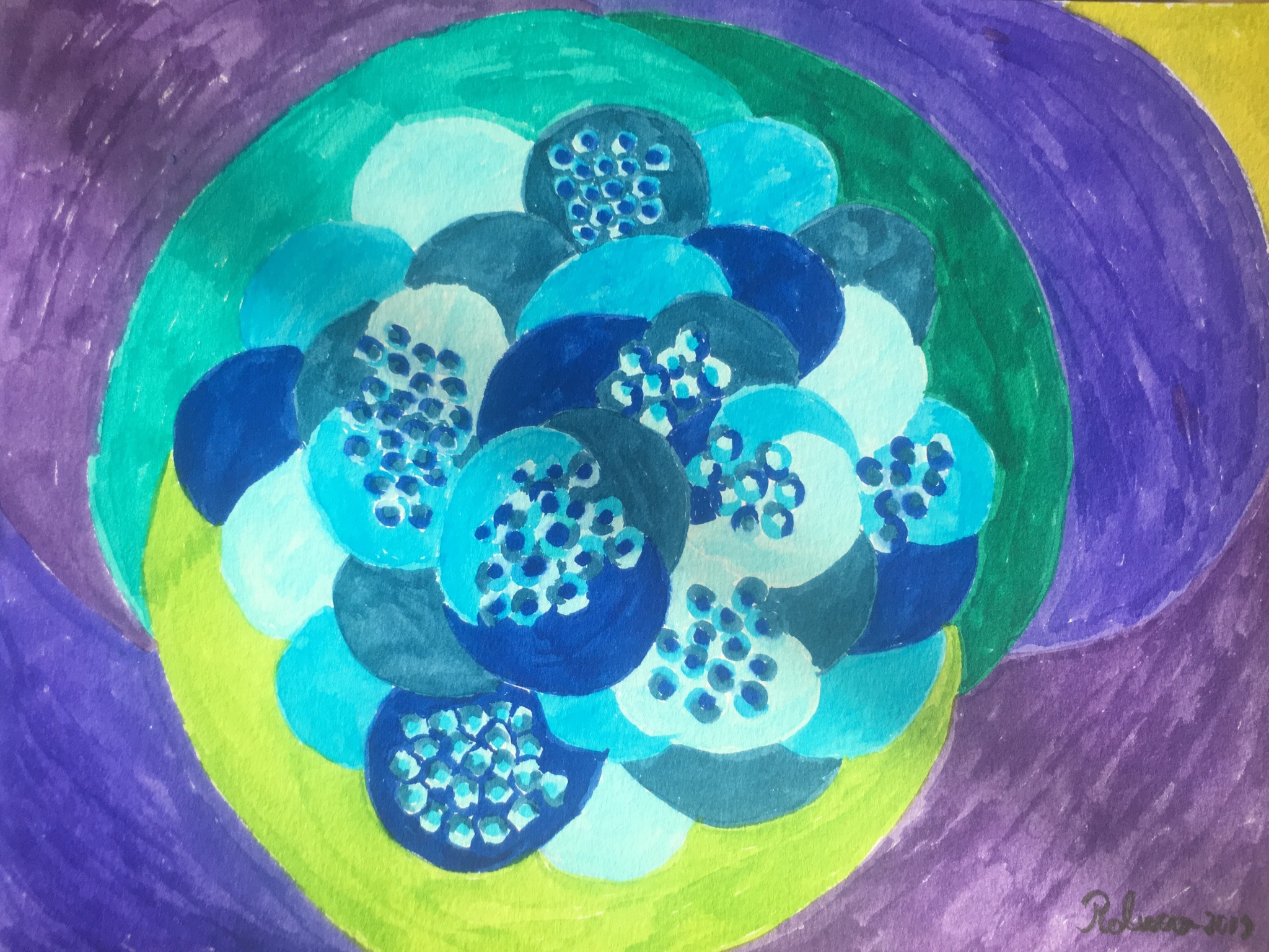 Chaotic cell division  artwork by Raluca Tiganila - art listed for sale on Artplode