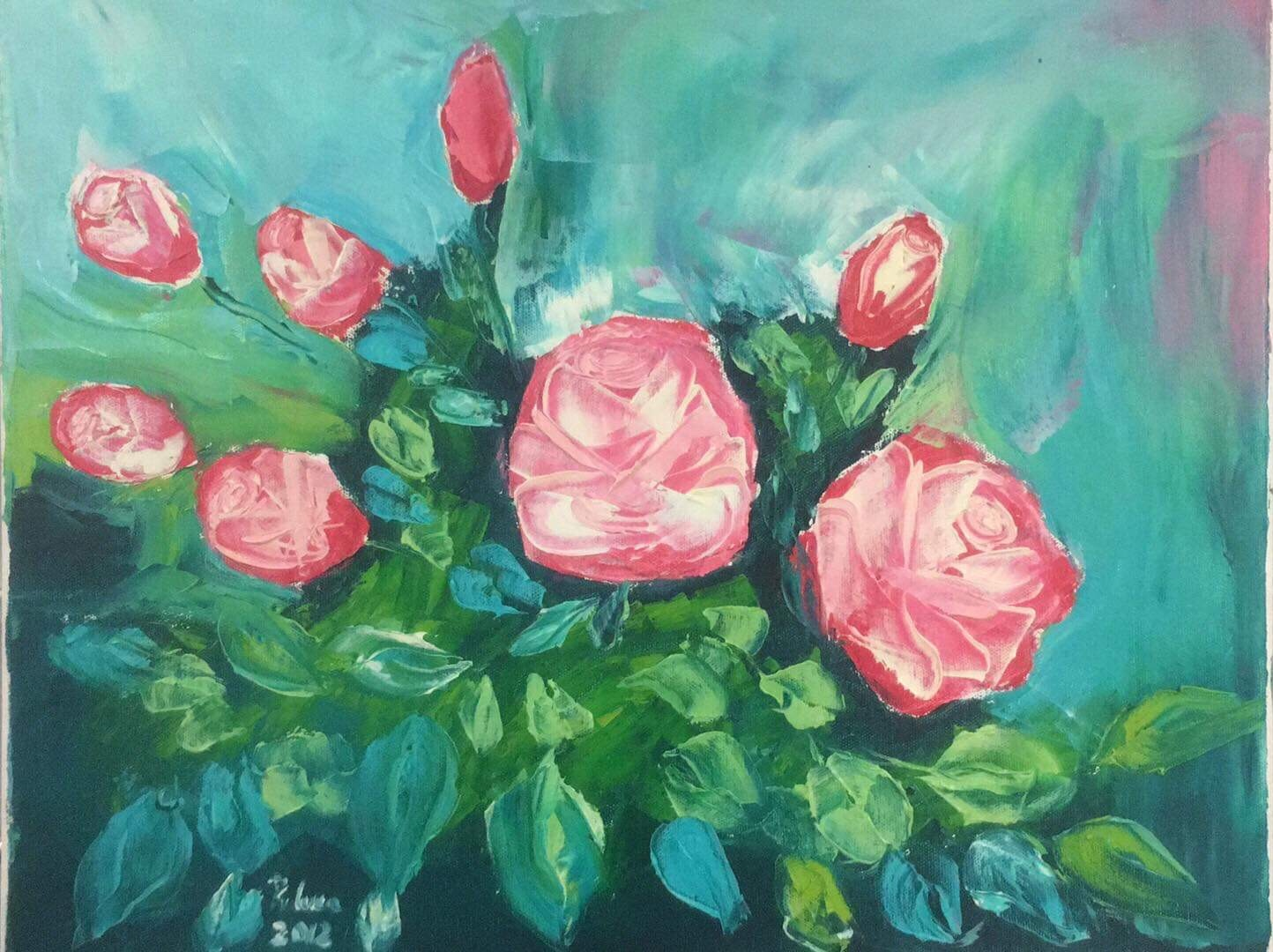 Roses bouquet  artwork by Raluca Tiganila - art listed for sale on Artplode