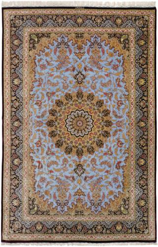 QUM KADHIMI PURE SILK CARPET, art for sale online by Baft Iran Qum Kadhimi