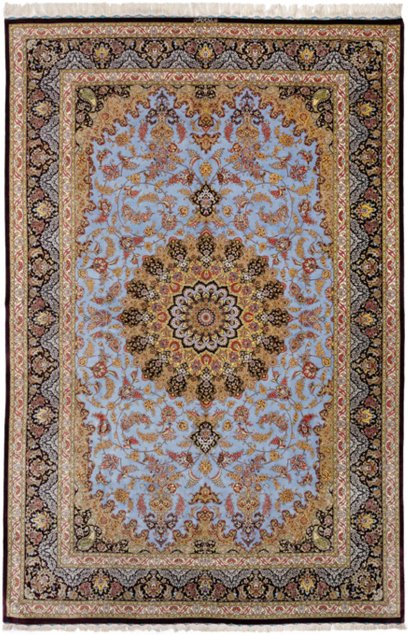 QUM KADHIMI PURE SILK CARPET artwork by Baft Iran Qum Kadhimi - art listed for sale on Artplode
