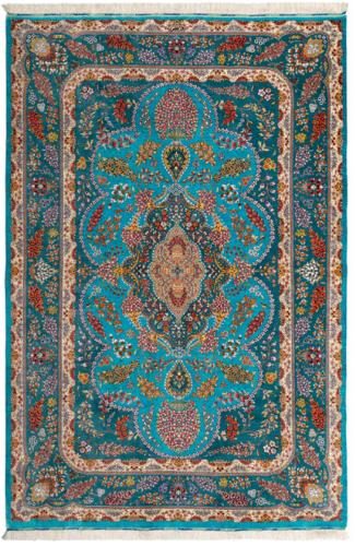 PURE TURQUOISE SILK CARPET, art for sale online by QUM KADHIMI