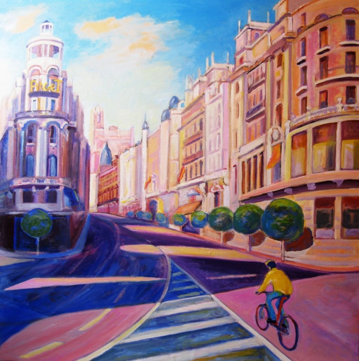 There is a cyclist in granvia artwork by Gregorio Gigorro - art listed for sale on Artplode