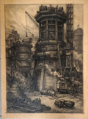 Construction of blast furnace, art for sale online by Viktor Gertsenok