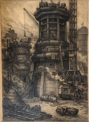 Construction of blast furnace artwork by Viktor Gertsenok