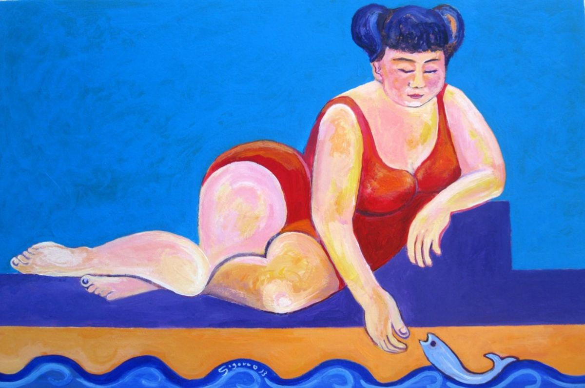Pepi and the fish artwork by Gregorio Gigorro - art listed for sale on Artplode