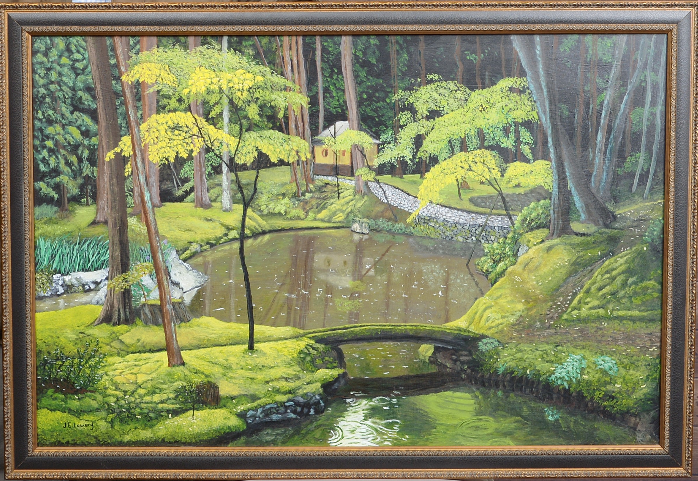 Teahouse In Autumn Rain artwork by James Lowery - art listed for sale on Artplode