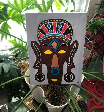 Masked artwork by Jane Gathoni - art listed for sale on Artplode