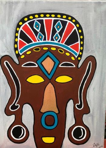 Masked, art for sale online by Jane Gathoni