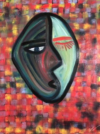 Two faced, art for sale online by Solongo Turbayar