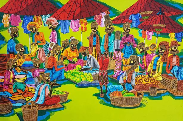 Ancient Market artwork by Aung Min Min - art listed for sale on Artplode