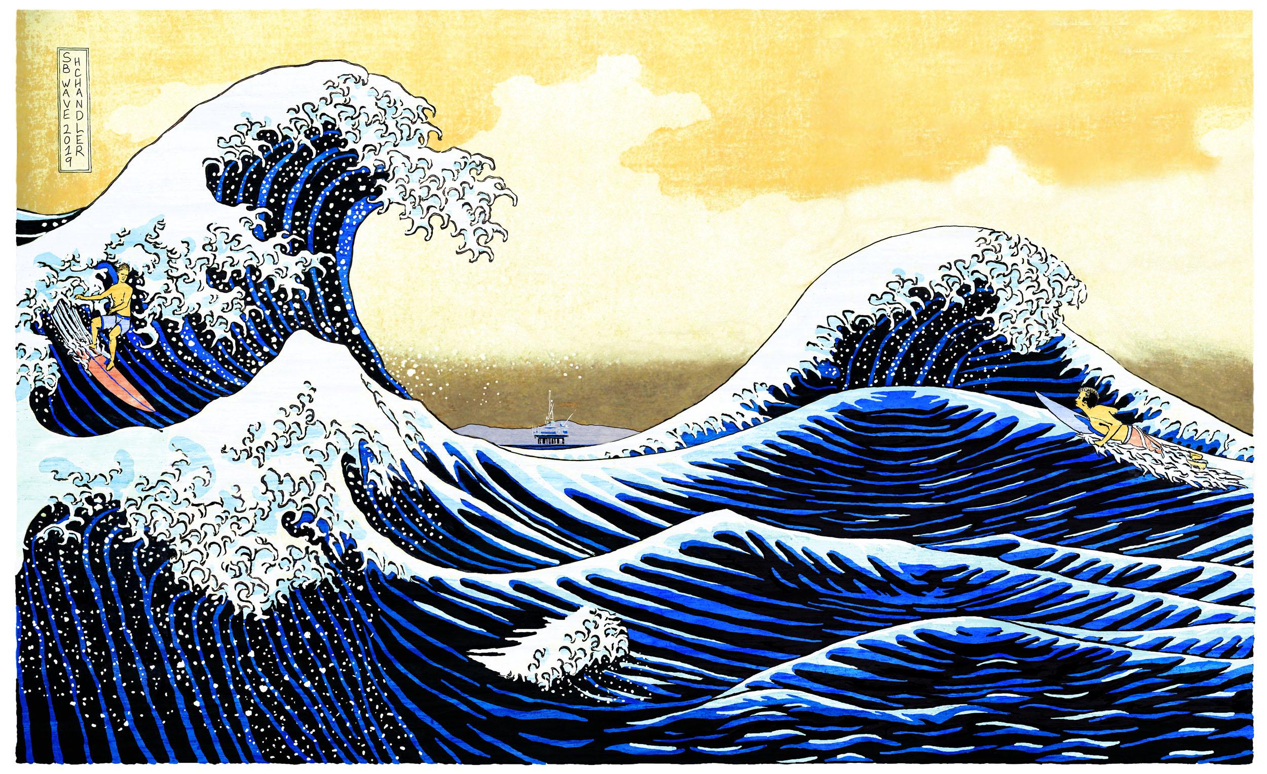 Santa Barbara Wave artwork by Harry Chandler - art listed for sale on Artplode