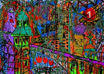 East Of Broadway, art for sale online by Franck de las Mercedes