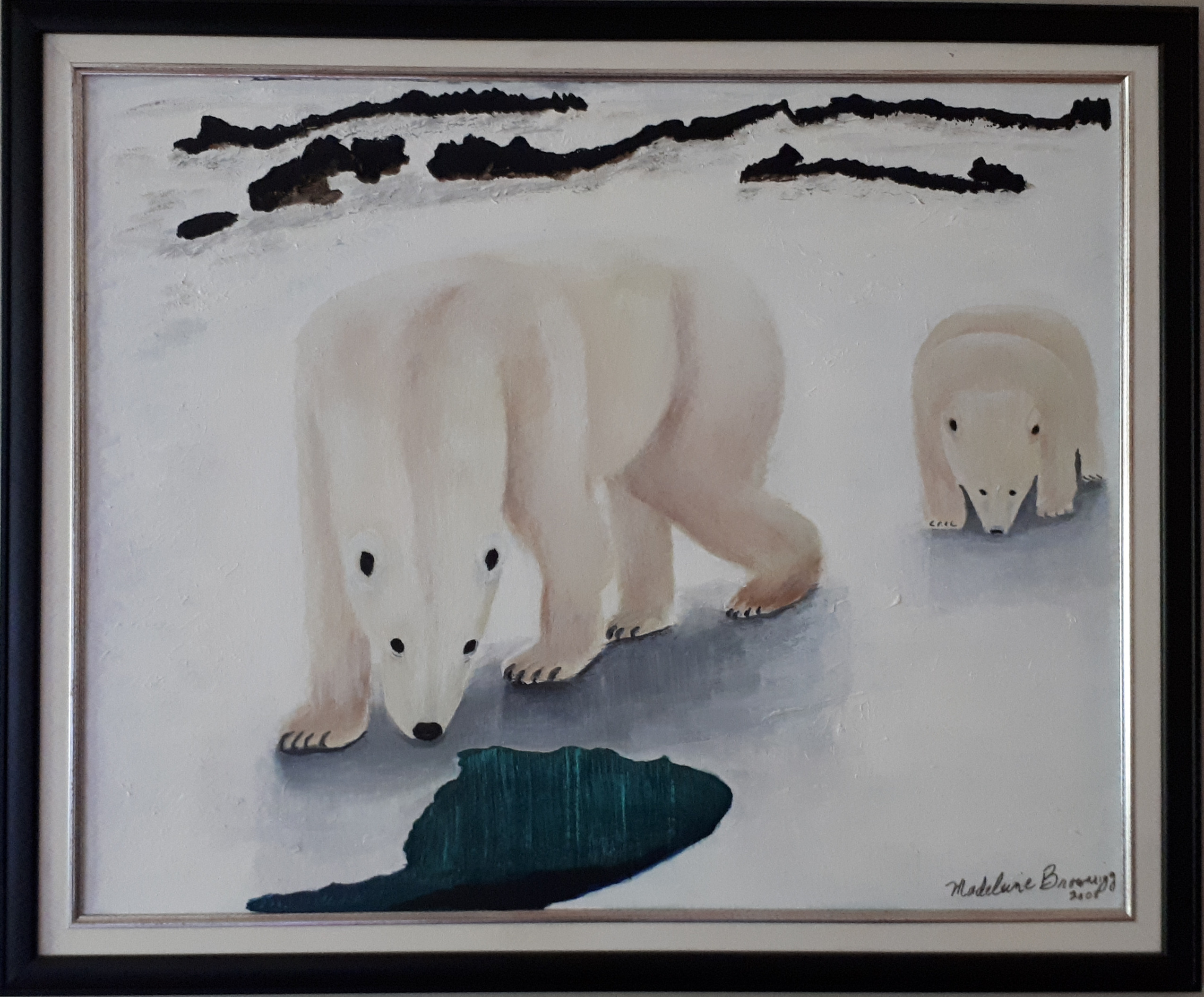 Polar Bears Endangered artwork by Madeleine Brownrigg - art listed for sale on Artplode