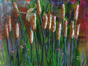 Cattails, art for sale online by Debbee Lotito