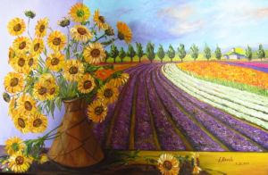 Provence and Vase with Sunflowers, art for sale online by Elena Roush