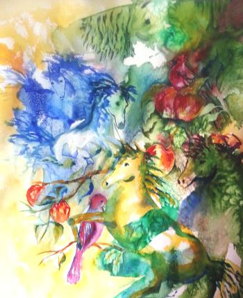 Abstract Horses, art for sale online by Kim Shuckhart Gunns