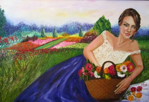 Girl and Flower Basket, art for sale online by Elena Roush