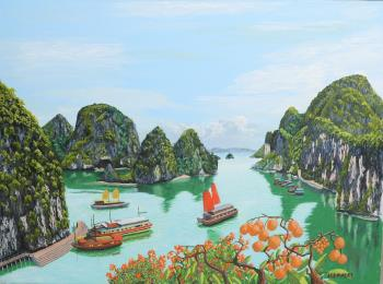 Boats of Ha Long Bay, art for sale online by James Lowery