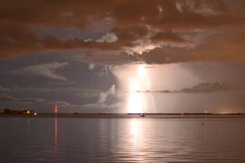 Lighting Strikes Over Calm Water, art for sale online by Jasmin Pawlowicz