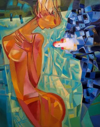 A tear goes down artwork by Ira Simidchieva