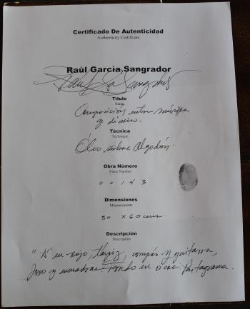 see certificate artwork by Raul Garcia Sangrador - art listed for sale on Artplode