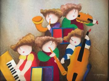 Child Musicians, art for sale online by Joyce Roybal