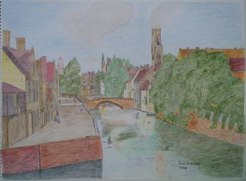 De Groene Rei in Brugge, art for sale online by cornelis sproet