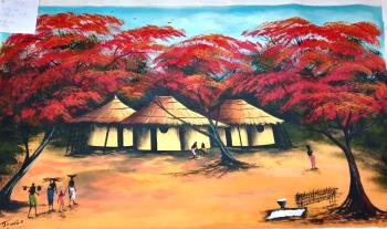 African Congolese Landscape, art for sale online by T Shonga