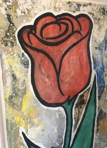 Red and Green Flower, art for sale online by Donald Baechler