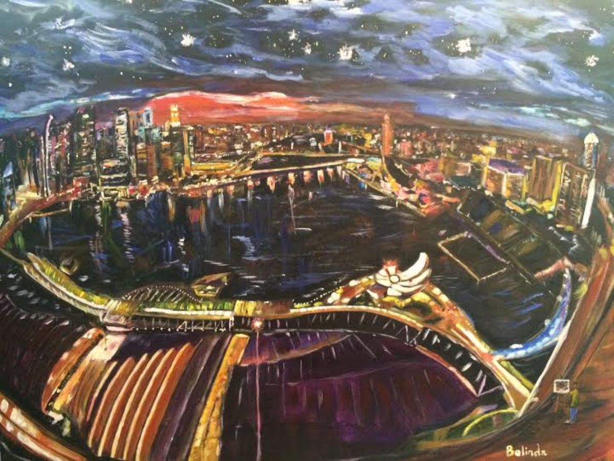 Starry Night Over the City in the Year 2014 artwork by Belinda Low - art listed for sale on Artplode