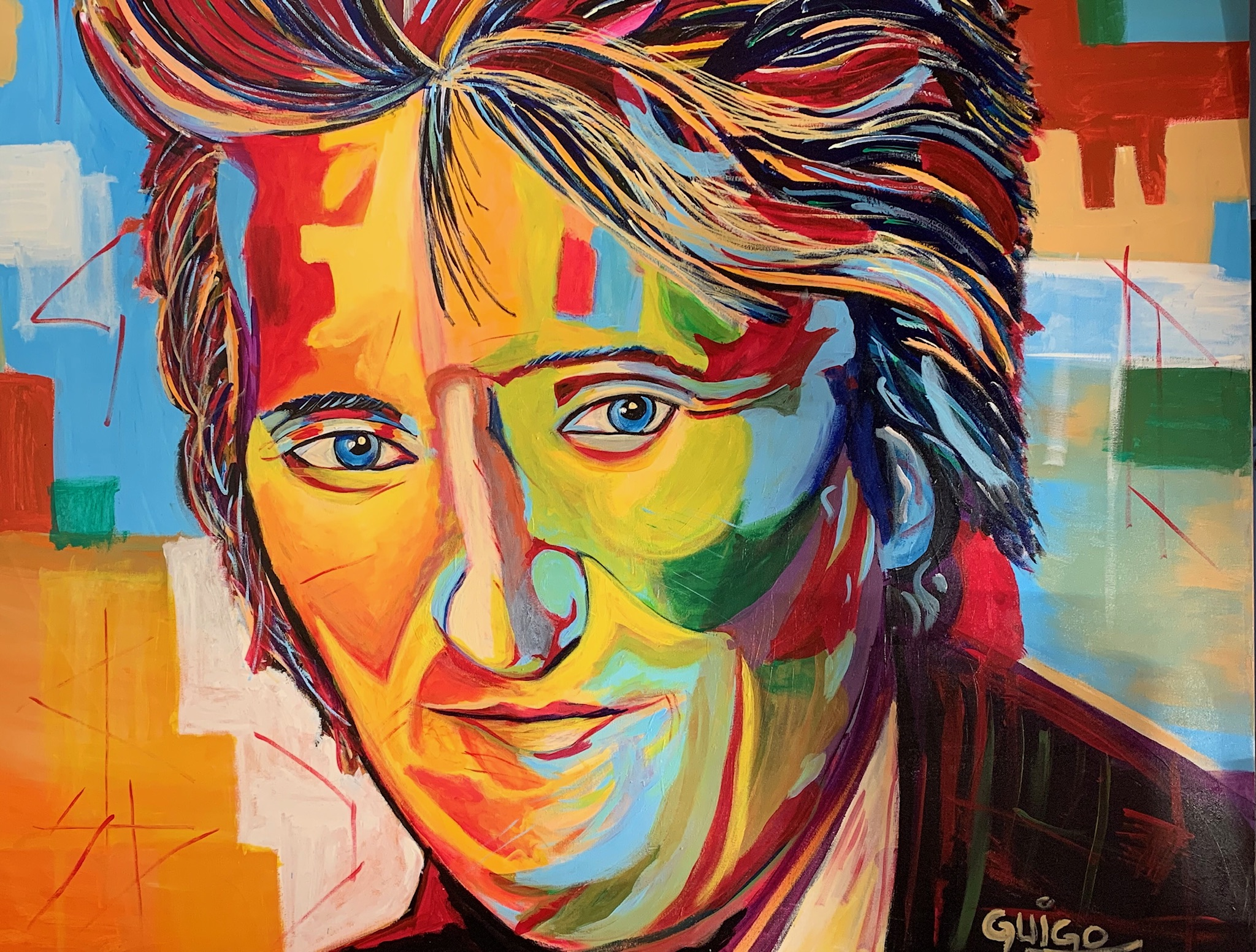 Rod Stewart  artwork by Guigo - art listed for sale on Artplode