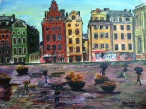 A Rainy Day at Gamla Stan Stockholm, art for sale online by Belinda Low