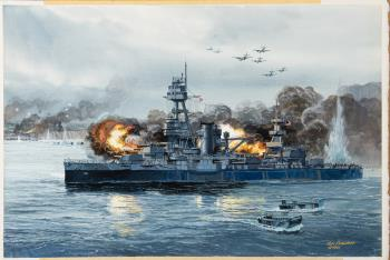 Battleship Texas at Normancy, art for sale online by Tom Freeman