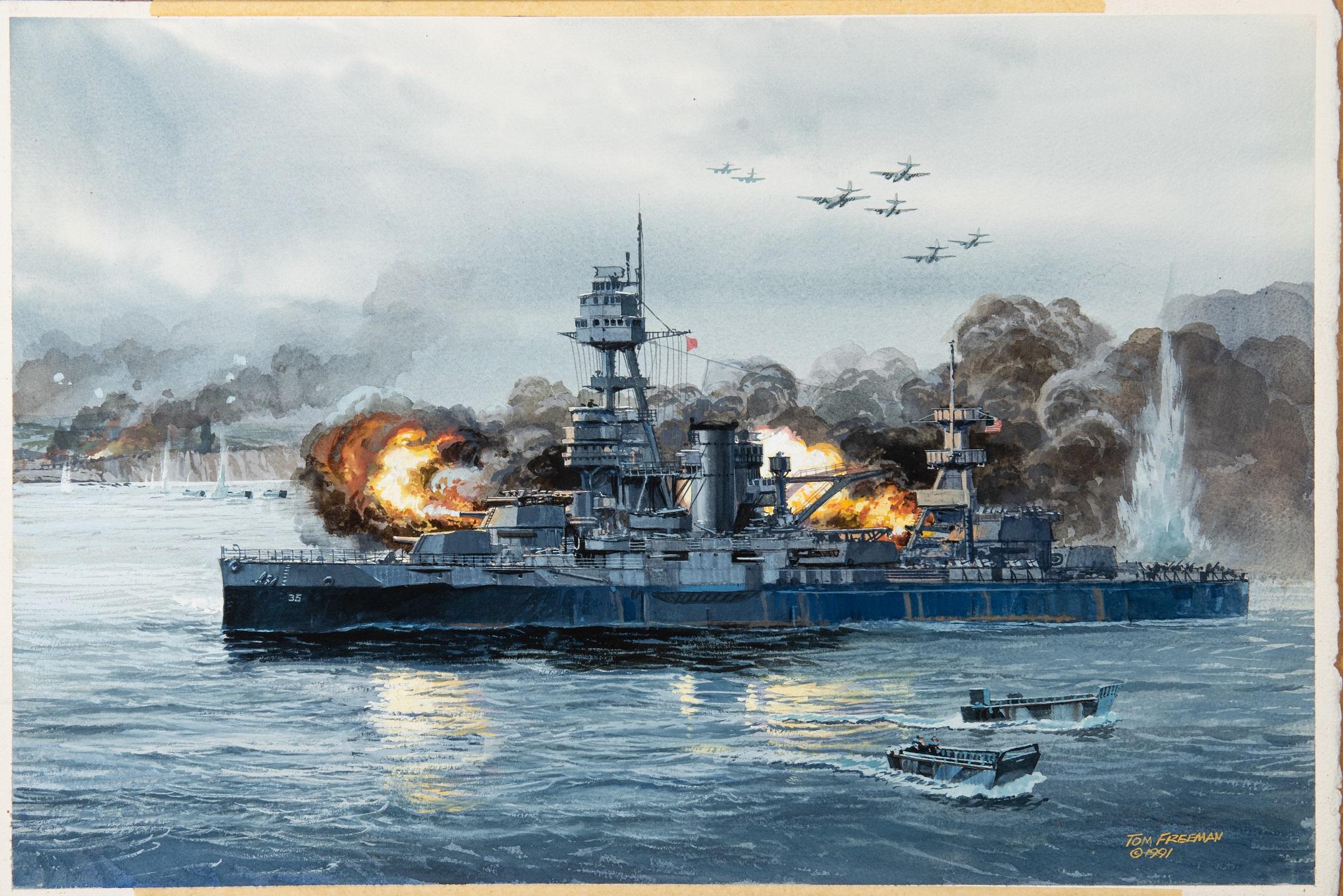Battleship Texas at Normancy artwork by Tom Freeman - art listed for sale on Artplode