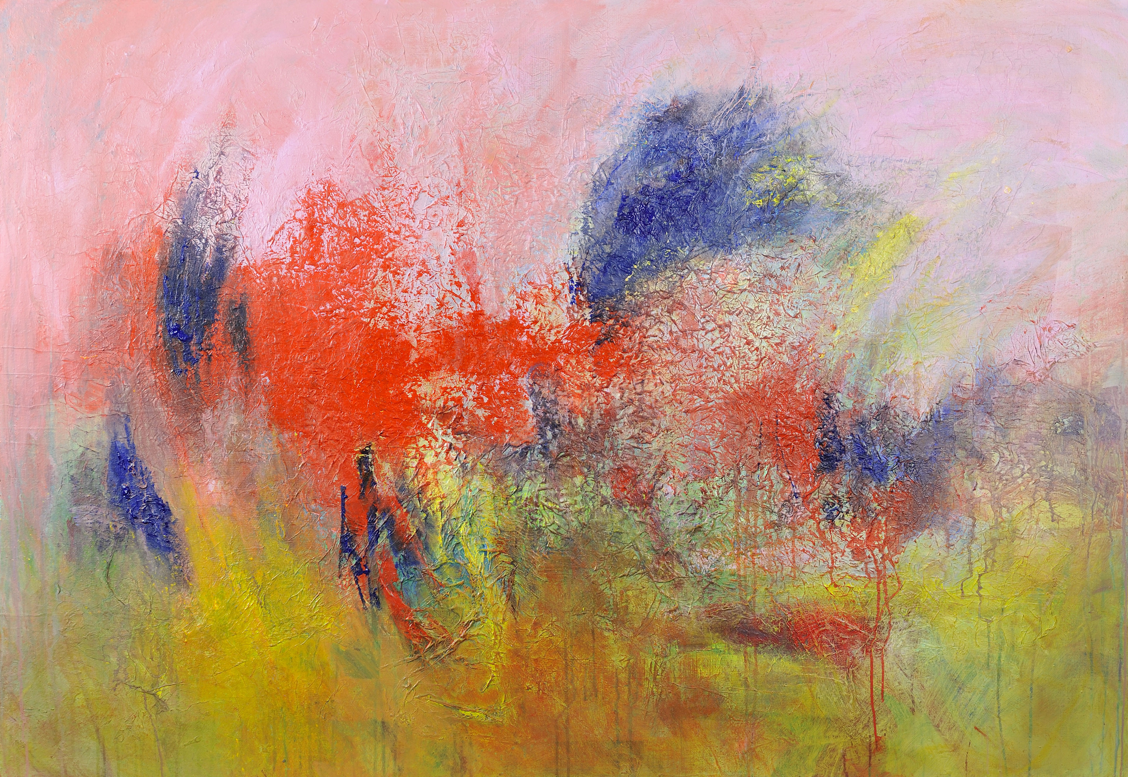 Blue Birds Red Trees artwork by Arnaud GAUTRON - art listed for sale on Artplode