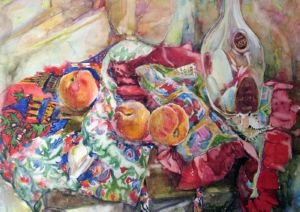Peaches with glass bottle and fabrics, art for sale online by Olga Pasechnikova